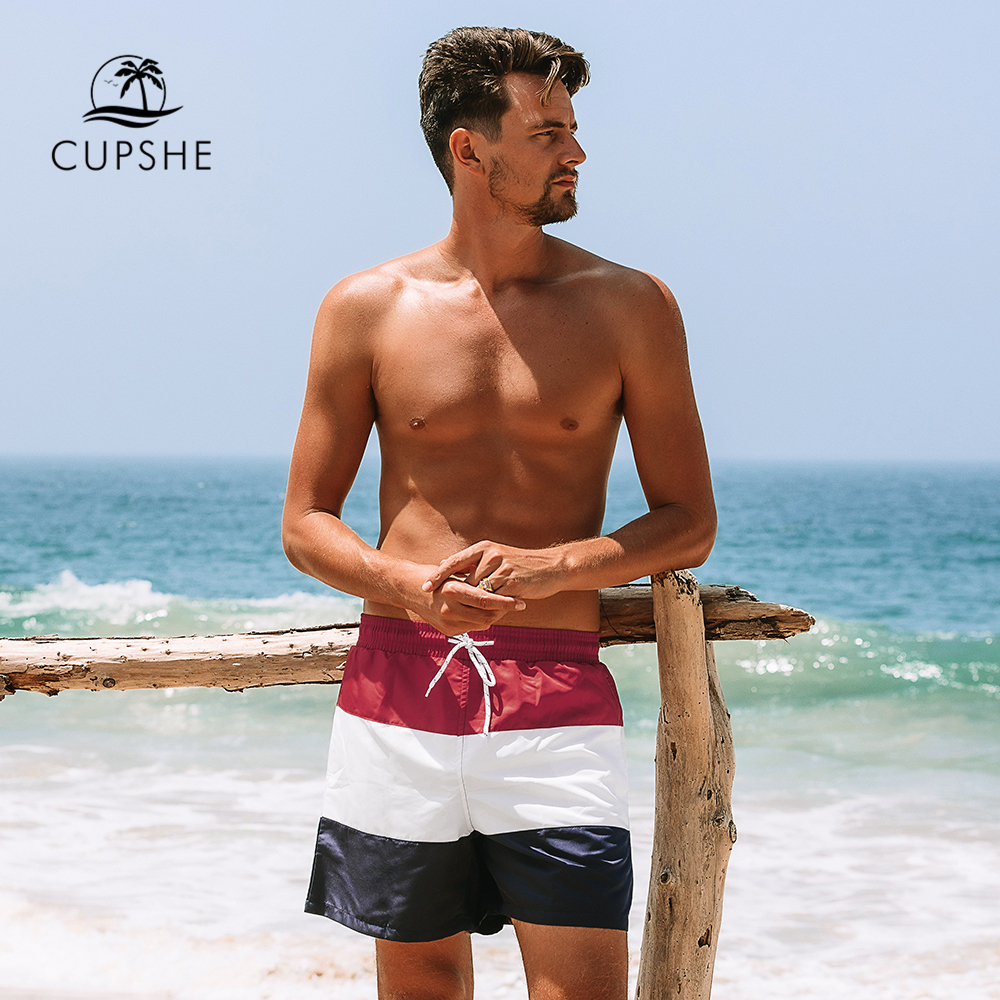 CUPSHE Red White Blue Color Block Men's   Board     Shorts   Summer Beach Trunks   Shorts   Men 2019 Swimming Surfing Pants Beachwear