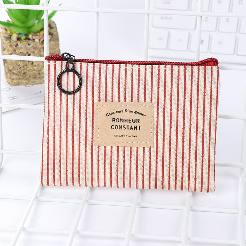 Unisex Canvas Coin Bag Purse Women Stripe Coin Money Card Holder Wallet Case Zipper Key Storage Pouch For Kid