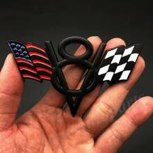 3D Metall USA Amerikanische Flagge V8 Vintage Auto Stamm Emblem Abzeichen Aufkleber Aufkleber