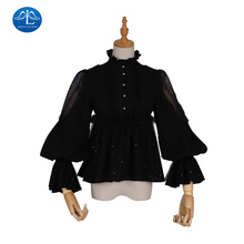 Gothic Lolita Blouse Victorian Women Shirt Retro Medieval Lace Lolita Blouse Tops SK for Tea Party Plus Size Long Sleeve layered flounce lace insert long sleeve blouse