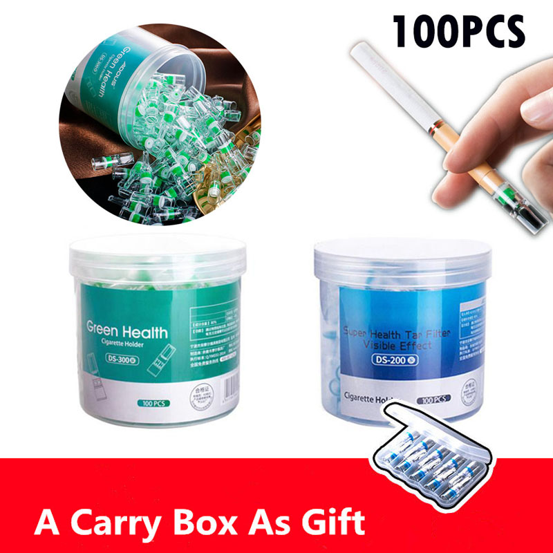 100Pcs Disposable Tobacco Cigarette Filter Smoking Reduce Tar Filtration Cleaning Filters 10PCS Cigarettes Holder Converter