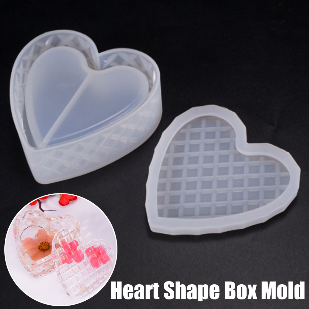 1pcs Craft Heart-shaped DIY Silicone Epoxy Mold For Jewelry Gift Storage Box Mold Decorative Making Tool