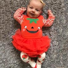 Get more info on the Halloween Pumpkin Print Rompers Newborn Infant Baby Girl First With TuTu Skirt Cartoon Infant Overalls Baby Toddler Clothes 9.11