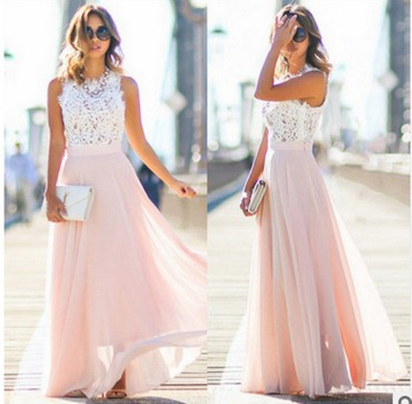 Women Sexy Prom Dress Elegant Sleeveless O-Neck Chiffon Pink Ankle-Length Ball Gown Arabic Prom Dresses Vestido Azul Marino