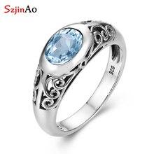 SzjinAo Твердые кольца из стерлингового серебра 925 пробы для женщин камень рожденных в августе кольцо из перидота Уникальные Роскошные ювелирные изделия