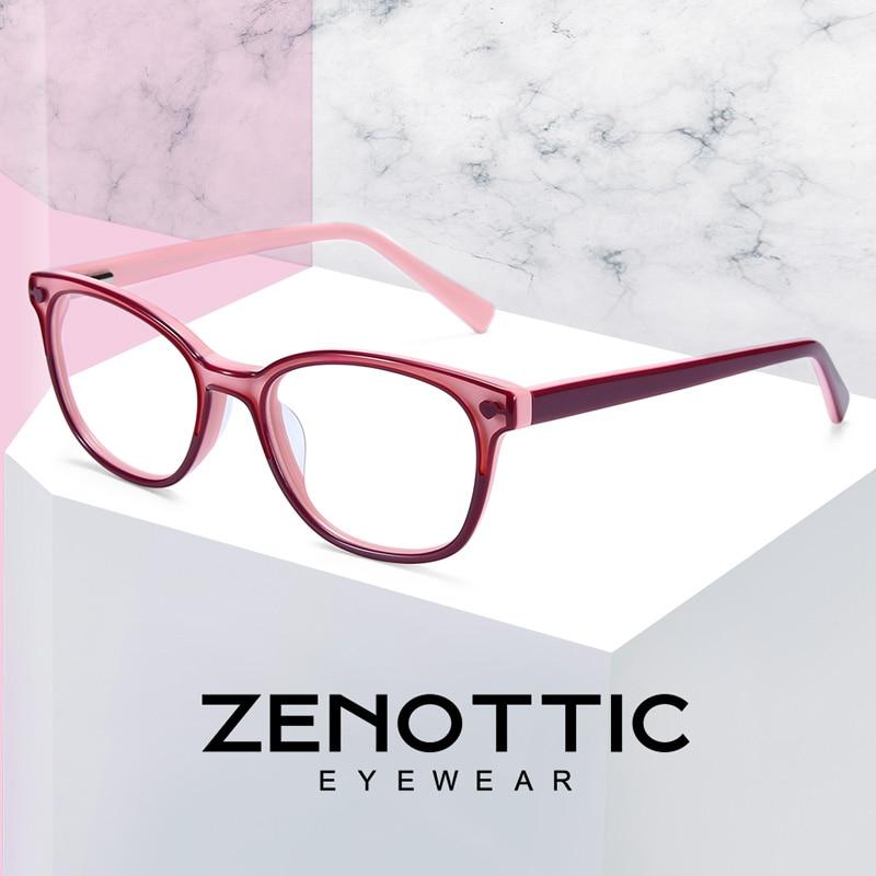 ZENOTTIC Pink Acetate Glasses Frame Girls Myopia Optical Spectacles Frames Child Cute Transparent Fashion Eyeglasses Frames 2019