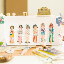 Cartoon Doll Dressup Series Retro Characters Washi Masking Tape Stickers Scrapbooking Stationery Decorative Long Strip Tape(China)