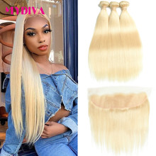 613 Bundles With Frontal Brazilian Straight Hair Bundles With Frontal Blonde Human Hair Bundle With Closure Remy Mydiva(China)