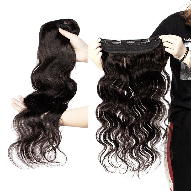 Sego 100g Brazilian Hair Body Wave Clip In Human Hair Extensions 1pcs With 5 Clips Natural Color Clip Ins Machine Remy Hair 22''