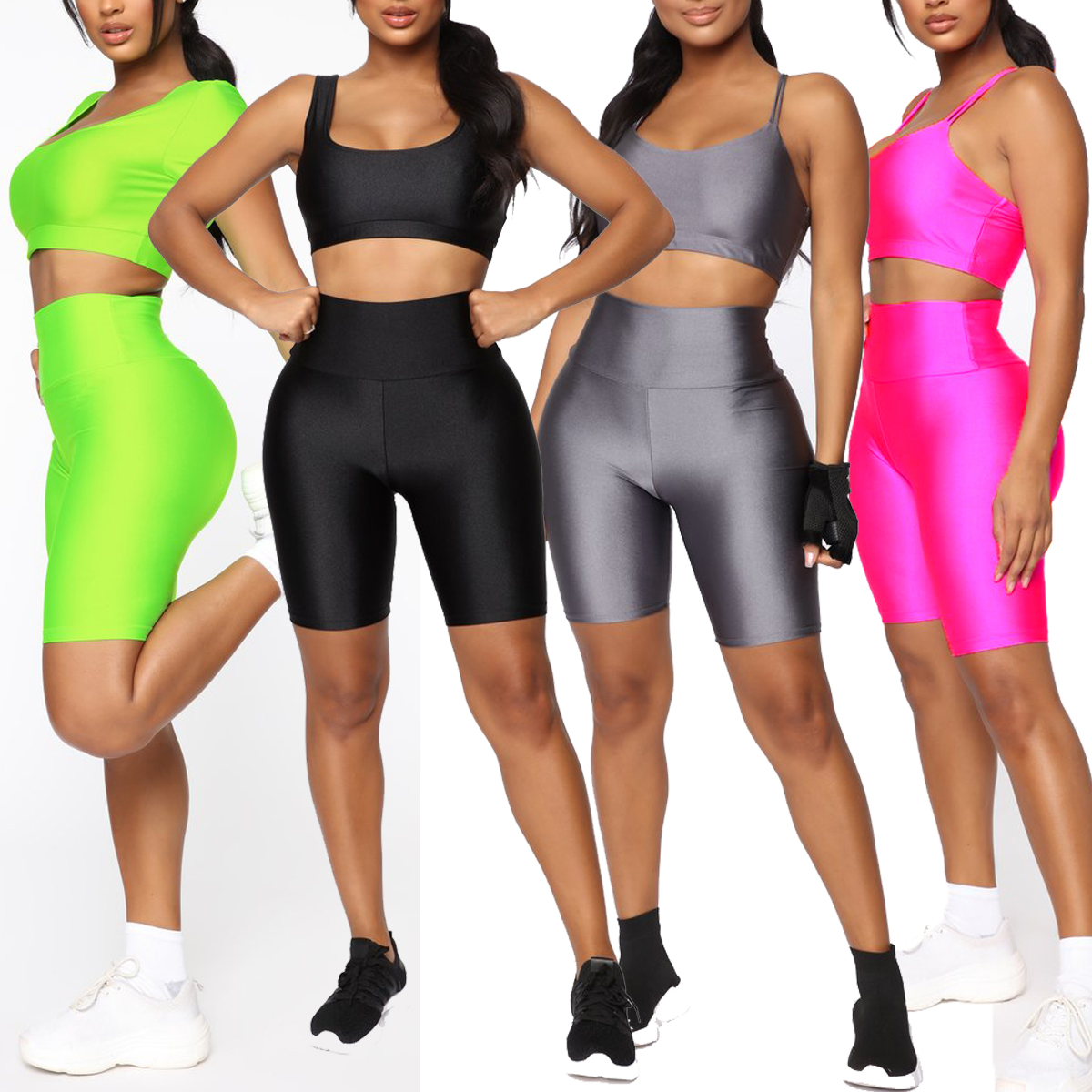 H5b53c7ec28f148c0b8bbb79c60aee8c6o - Womens Plain Sports Gym Cycling Skinny Fit High Waist Shorts Lady Summer Casual Solid Basic Stretchy Bodycon Short Pants