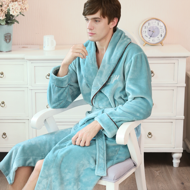 Bathrobes Dressing-Gown Couple Flannel Male Men's Europe Soft Home Thicken Long Warm