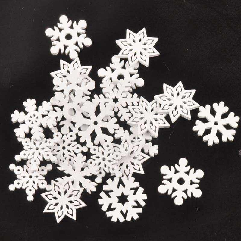 50 Buah 35 Mm Campuran Bentuk Kayu Putih Kepingan Salju Natal Ornamen Xmas Liontin Tahun Baru Natal Dekorasi untuk Rumah Navidad