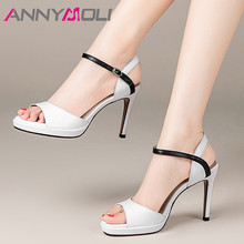 ANNYMOLI Platform Natural Genuine Leather Sandals Women Shoes Mixed Colors Round Toe Ladies Sandals Thin High Heels Shoes White krazing pot genuine leather embroidery high heels straw decorations platform sandals runway beading oriental beauty shoes l38