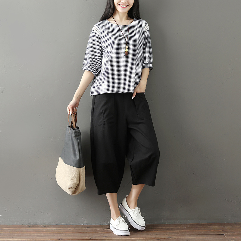 Cotton Linen Loose Pants WOMEN'S Suit Korean-style New Style Literature And Art Fashion Plaid Large Size Flax Casual Two-Piece S