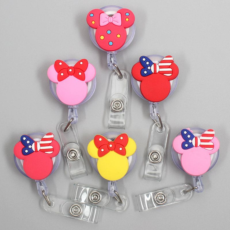 New Cartoon 60cm Silicone USA Bowknot Mickey  Retractable Badge Reel Student Nurse Exhibition Enfermera Name Card ID Card Chest