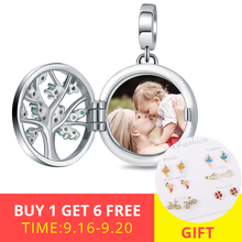 XiaoJing 925 Silver Engraved Unique Family Tree of Life Photo Locket Charms Fit bracelet&Necklace Custom Jewelry free shipping chic engraved floral locket necklace