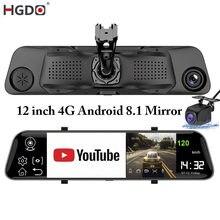 HGDO-cámara DVR para coche, espejo retrovisor multimedia de 12 pulgadas, 4G, ADAS, Android 8,1, FHD, 1080P, WiFi, GPS, cámara de salpicadero, grabadora de vídeo