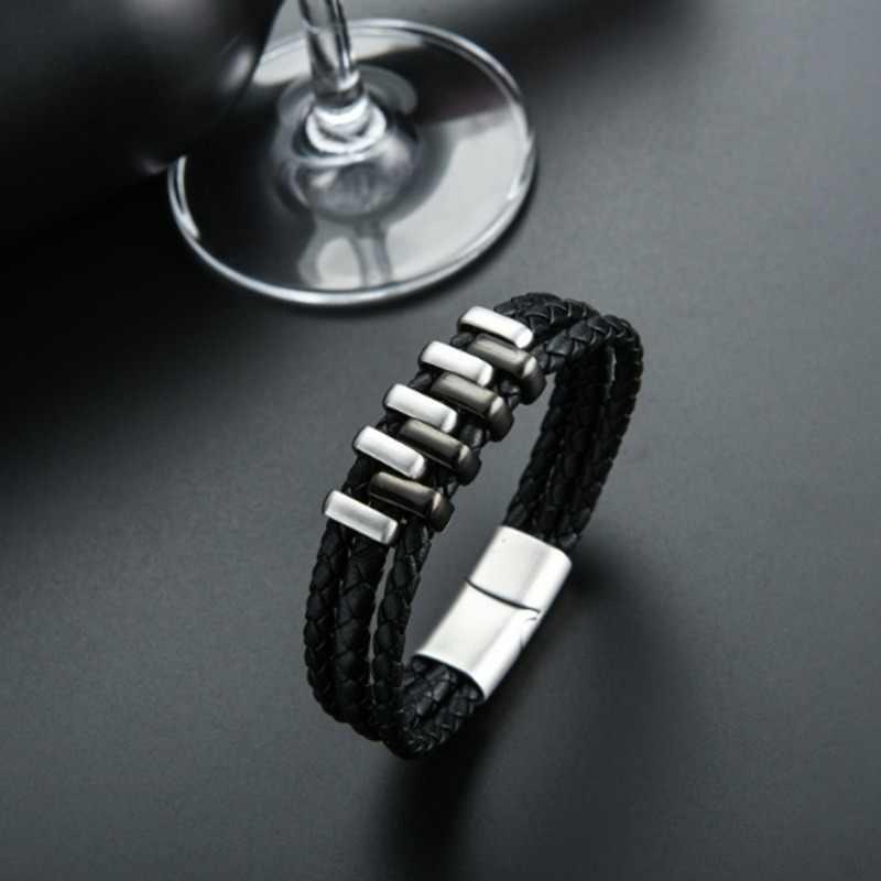 Многослойные панк Стиль со стильным дизайном черного цвета из натуральной кожи мужской браслет-амулет