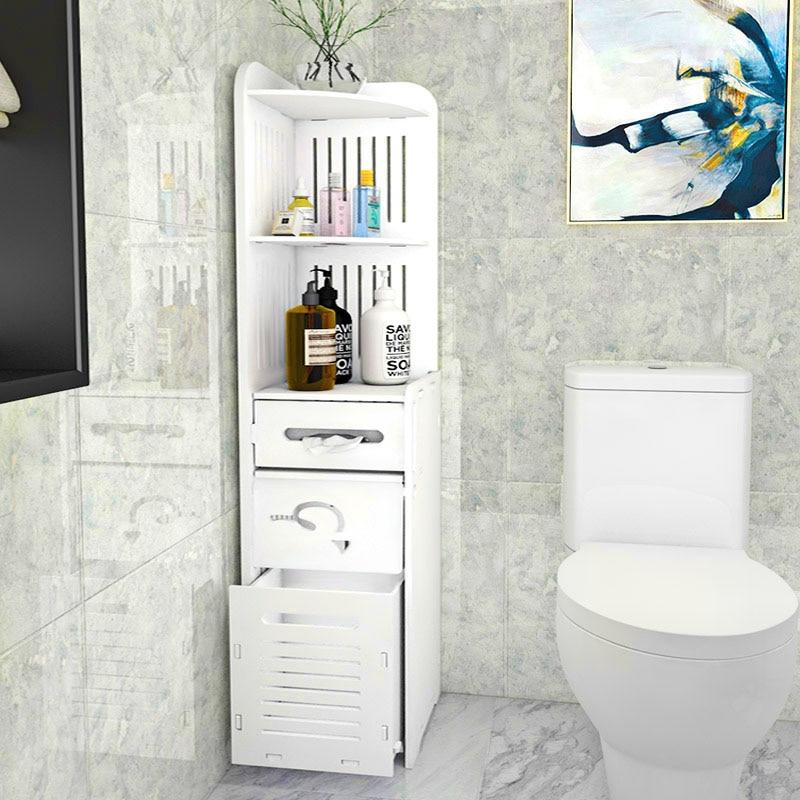 PVC Toilet Shelf Floor Bathroom Storage Organizer Paper Towel Rack Locker Waterproof Multifunctional Bathroom Furniture Cabinet