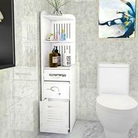 Pvc toalete prateleira piso banheiro organizador de armazenamento papel rack armário à prova dwaterproof água multifuncional móveis do banheiro| |   -
