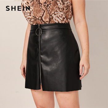 SHEIN Plus Size Black O-ring Zip Front PU Pencil Skirts Womens Autumn Solid Faux Leather Motor Storm Glamorous A Line Mini Skirt