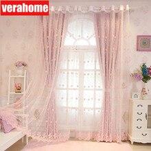 Koreaanse Pastorale Roze Blackout Prinses Gordijnen Voor Meisjes Kids Woonkamer Slaapkamer Ramen Behandeling Sheer Tulle Romantische Screen