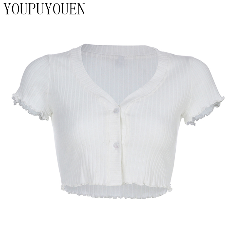 Ladies Ruffle Knit Short Cardigan Crop Top Women Shirts Knitted Tops 2019 Summer Knitwear Sweater Woman Clothes White Cardigans