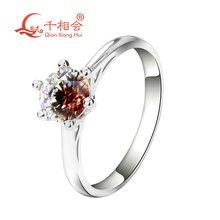 Двухцветное кольцо из серебра 925 пробы с 6 когтями и кубическим