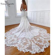 Boho Русалка свадебное платье 2020 женское с кружевами и аппликацией