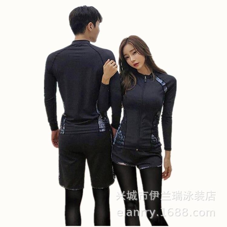 Korean-style Quick-Dry Men Surf Clothes Sun-resistant Bathing Suit Hot Selling Couples Swimwear Long Sleeve Boxer Five-Piece Wom