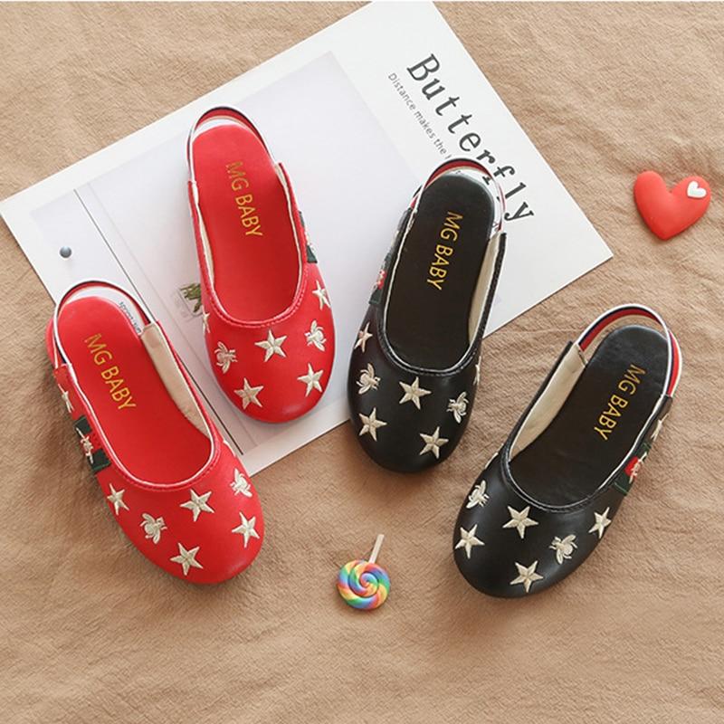 Kids Sandals Children Leather Slippers Kids Footwear Girls Vintage Single Shoes School Flat Shoes