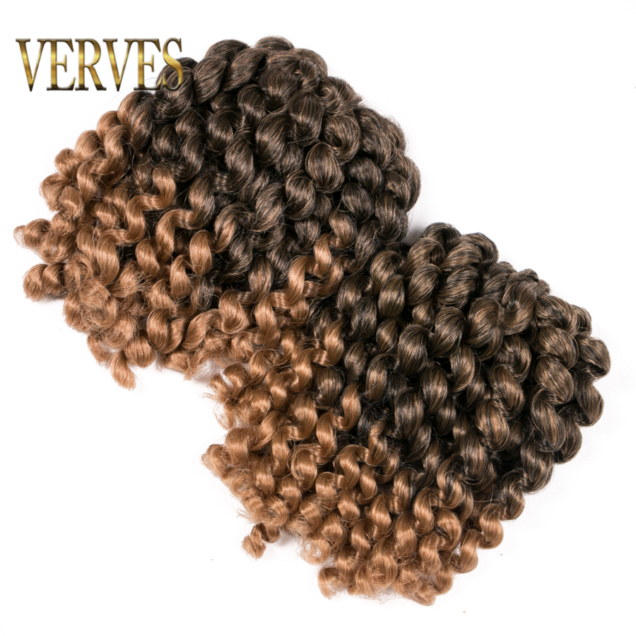VERVES Jumpy Wand Jamaican Bounce Curl 8 inch Crochet Hair Braids Extensions Ombre Braiding twist brown Blonde