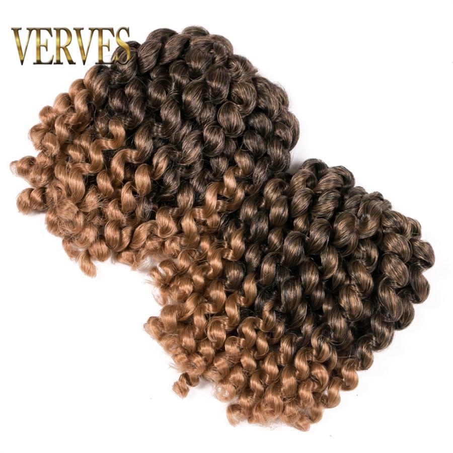 VERVES Jumpy Wand Jamaican Bounce Curl 8 Inch Crochet Hair Crochet Braids Hair Extensions Ombre Braiding Hair Twist Brown Blonde
