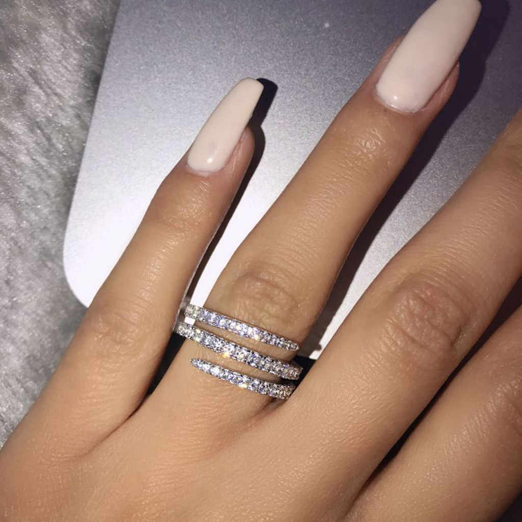 Luxo anel de casamento branco prata áustria cristal zircão anel presente de natal para as mulheres anéis de jóias de casamento atacado lol