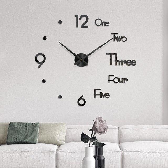 DIY Wall Clock 3D Mirror Surface Sticker Home Office Decor Clock (large)Relogio Uurwerk Wandklok Onderdelen Wall 3d