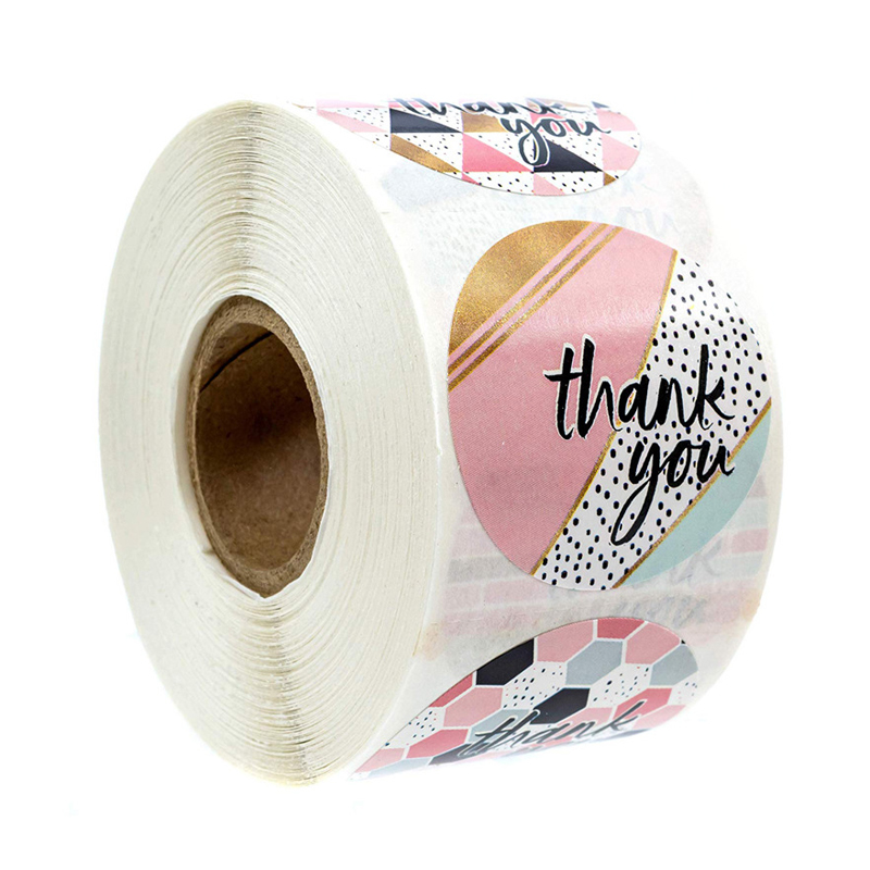 500pcs Thank You Stickers Round Pink Geometric Pattern Seal Labels Christmas Stickers School Teacher Reward Stationery Sticker