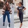 Women Streetwear Pleated Mom Jeans High Waist Loose Slouchy Jeans Pockets Fashion Boyfriend Pants Casual Ladies Denim Trousers 5
