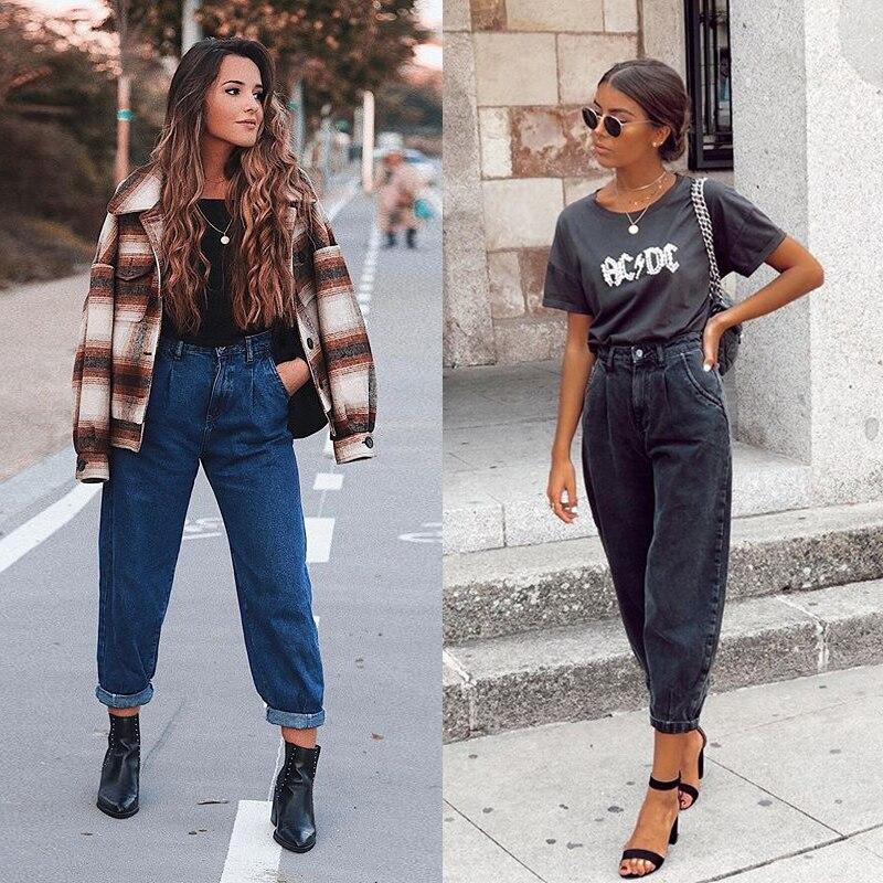 Aachoae Women Streetwear Pleated Mom Jeans High Waist Loose Slouchy Jeans Pockets Boyfriend Pants Casual Ladies Denim Trousers 10