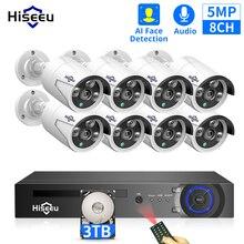 Hiseeu H.265 8CH 5MP POE sistema di telecamere di sicurezza Kit AI Face Detection registrazione Audio telecamera IP IR CCTV videosorveglianza Set NVR
