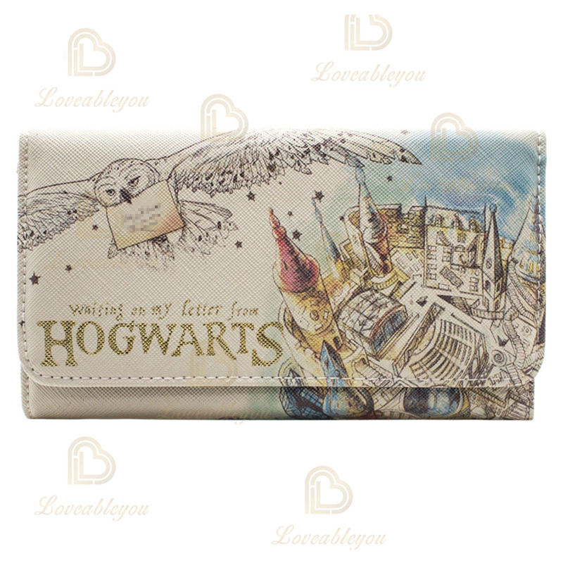 Watercolor Wallet Women Purses Fashion Coin Purse Card Holder Wallets Female Cosplay Hogwarts Clutch Money Bag PU Leather Wallet