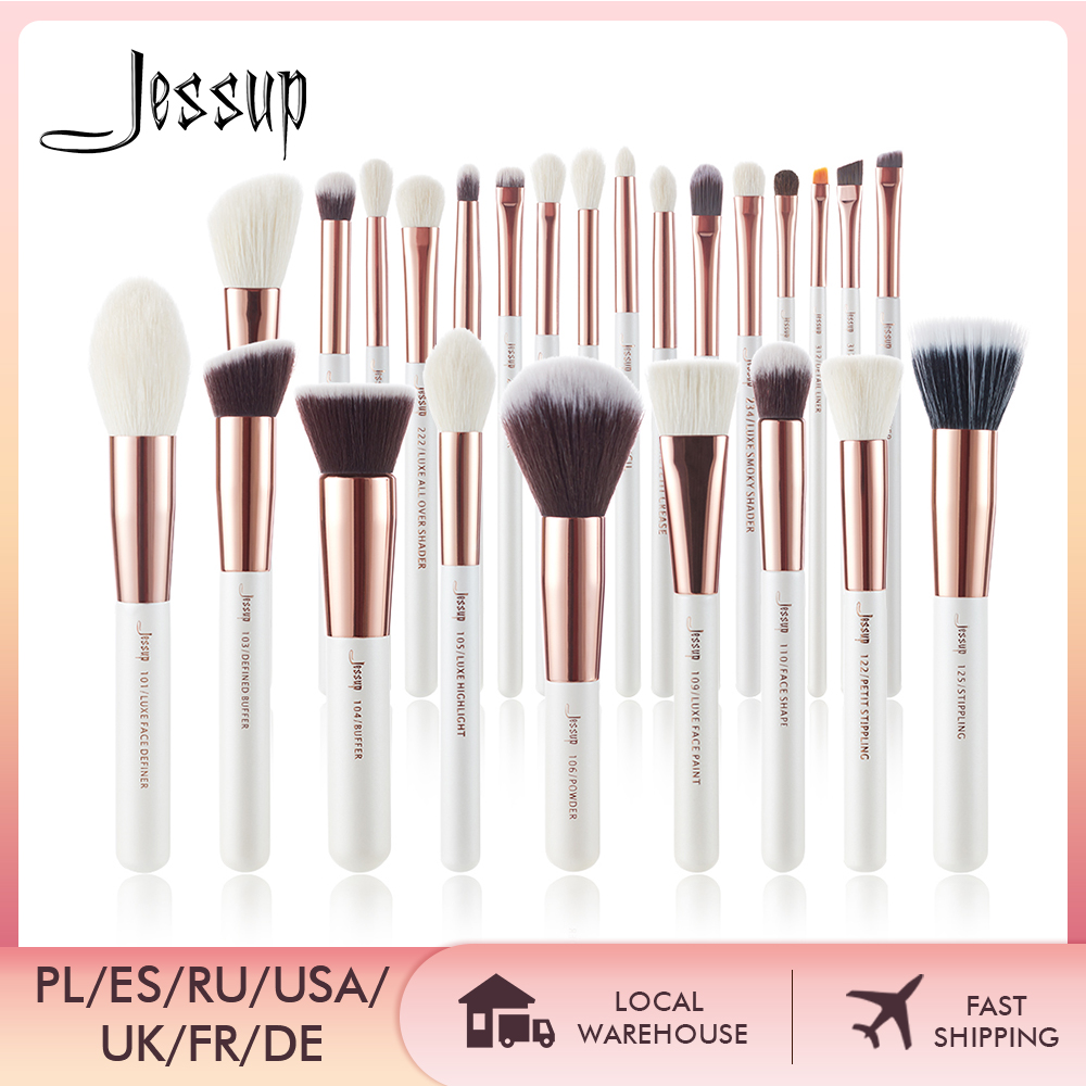 Jessup Makeup-Brushes-Set Blushes Hair-Foundation-Powder Pearl Professional Natural White/rose-Gold