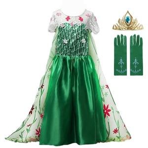 New Green Elsa Lace Dress Summer 2020 Elsa Anna Dress Vestido Elsa Fever Dress for Kids Girl Fantasia Princess Dress