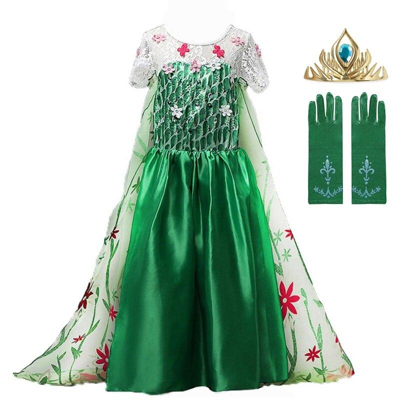 Novo vestido de renda verde elsa vestido de verão 2020 elsa anna vestido de febre elsa vestido para crianças menina fantasia vestido de princesa