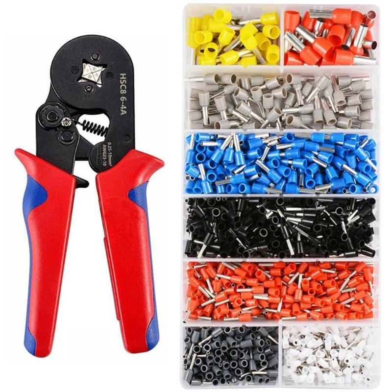 Cable Crimping Pliers 1200pcs Cold-pressed Tubular Terminals Connector Wire Crimper Copper Tinning Hand Tool Sets