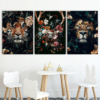 Diy 5D deer Lion tiger Face flower Diamond Painting cross stitch kits Full Square Embroidery art Animal 3D paint by diamond