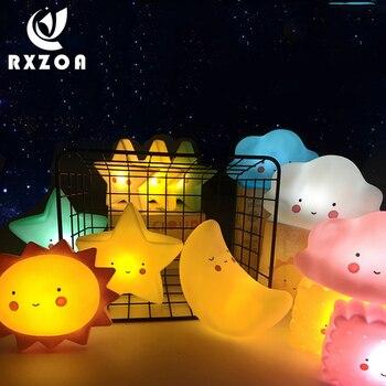 Creative night light fairy bedroom bedside led cartoon cute star lamp eye protection moon light for kids children christmas gift цена 2017