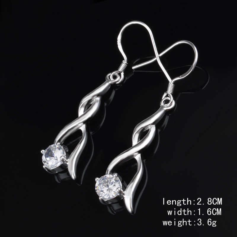 אופנה AAA זירקון עגילי Twisted צורת ארוכת עגילי עגיל עם חותמת לחבר הכי טוב מתנה 925 כסף צבע תכשיטים