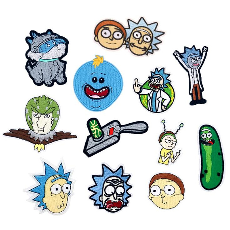 Hot New Movie Anime Rick And Morty Patch Badge Cartoon Embroidery Ornament Cosplay Costumes Accessories