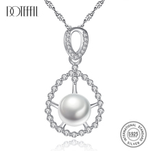 DOTEFFIL New 925 Silver Chain Zircon Pearl Pendant Necklaces For Women Natural Freshwater Pearl Jewelry Link Party Female Gift doteffil new earrings natural freshwater pearl genuine 925 silver zircon pearl earrings for women jewelry engagement gift