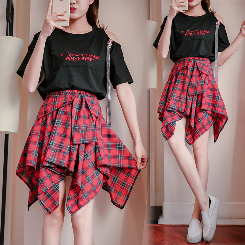 INS Super Fire Dress Women's Summer Plaid Students Set Summer New Style 2018 Korean-style Two-piece Dress Skirt